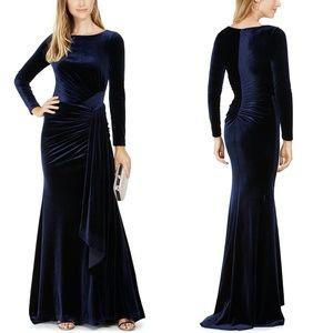 NEW Vince Camuto L/S Navy Draped Velvet Gown 14